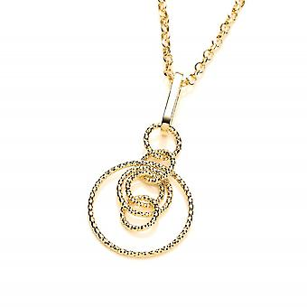 David Deyong Sterling Silver & Yellow Gold Plated Diamond Cut Interlocking Circles Necklace