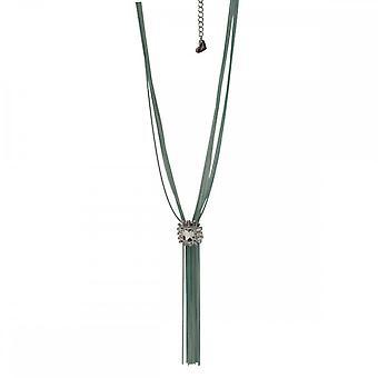 Nour London Long Tassel Tie Diamante Detail Necklace