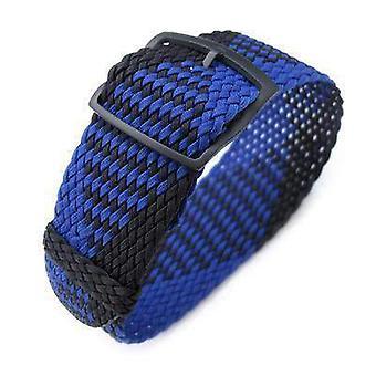 Strapcode fabric watch strap 20, 22mm miltat perlon pulseira do relógio, preto & azul, pvd escada lock slider fivela