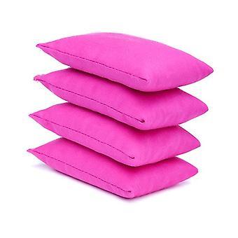 4 paquete de bolsas de frijoles de tela de algodón rosa para deportes, PE, escuela, juegos de captura, sensorial, malabares