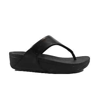 Fitflop Lulu Black Leather Womens Slip On Toe Post Sandals