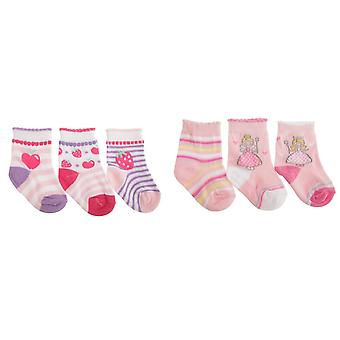 Baby meisjes Fruit/Fairy Design mantel Trim sokken (pak van 3)