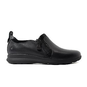 克拉克斯 Un 装饰 Zip 黑色组合皮革妇女拉链鞋