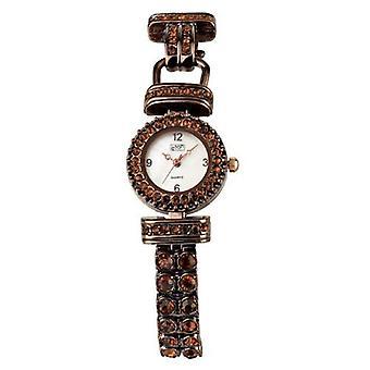 Eton Womens Brown Stone Set Bracelet Watch, Real MOP Dial - 3058L-BR