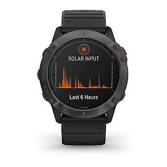 Garmin Watches 010-02157-21 Fenix 6x Pro Solar Edition Titanium Carbon Grey Dlc & Black Silicone Smartwatch