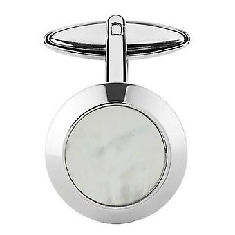 Orton West Mother of Pearl Round Cufflinks - Silver