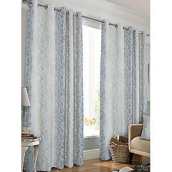 Belle Maison Lined Eyelet Curtains, Portofino Range, 66x72 Blue