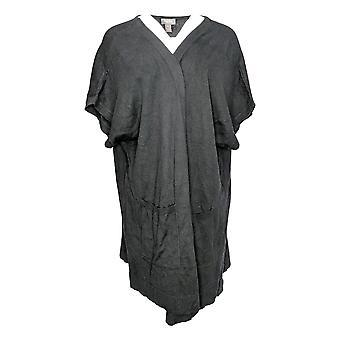 Martha Stewart Women-apos;s Sweater Extended Shoulder Cardigan Black A307720
