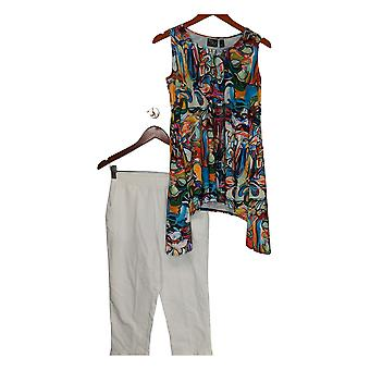 Women With Control Petite Set Printed Tunic With Capri Pants Blue A301327