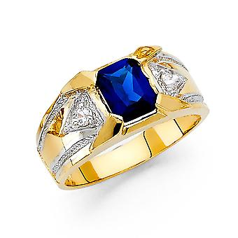 14k Yellow Gold and White Gold CZ Cubic Zirconia Simulated Diamond Mens Ring Size 10 Jewelry Gifts for Men