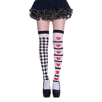 Womens Jester Harlequin Heart Card Print Thigh High Costume Stockings