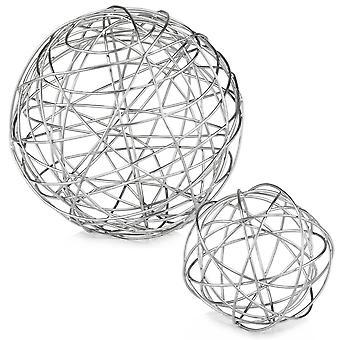 """7"""" x 7"""" x 7"""" Esfera de Alambre Grande de Plata"""