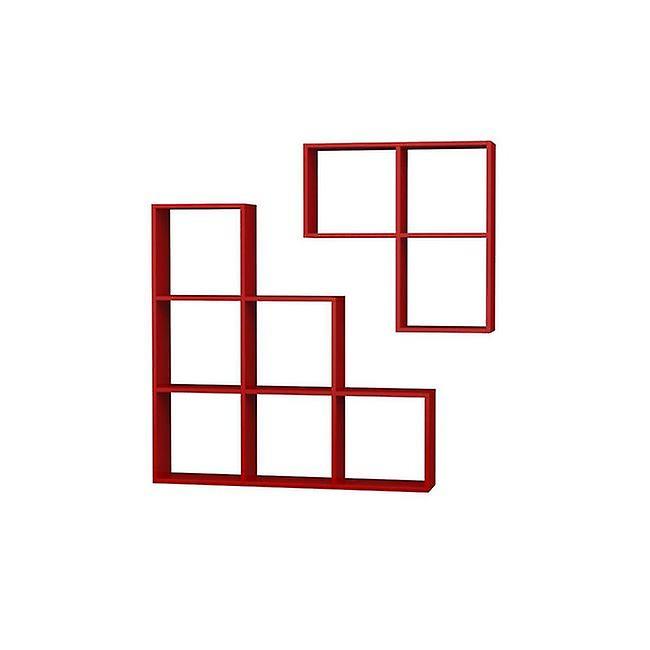 Libreria Portion Color Rosso in Truciolare Melaminico 120x20x120 cm, 79x20x79 cm