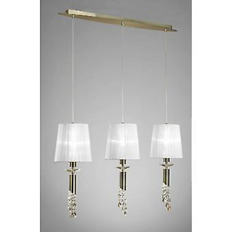 Tiffany Pendant Light 3 + 3 Bulbs E27 + G9 Line, Antique Brass With White Lampshades & Transparent Crystal