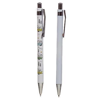 Camper Ballpoint Pen 2-sæt Wildwood Design Caravan Park hvid trykt / lyseblå, med sort mine, i gaveæske.