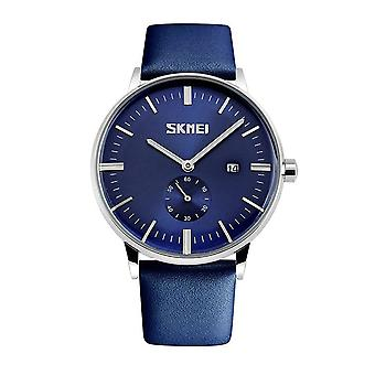 Skmei Mens Blue Classic Watch Genuine Leather Strap Date Display SK9083