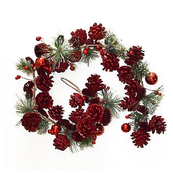 1,1m Red Pine Cone, Berry & Bauble Artificial Christmas Floristry Garland
