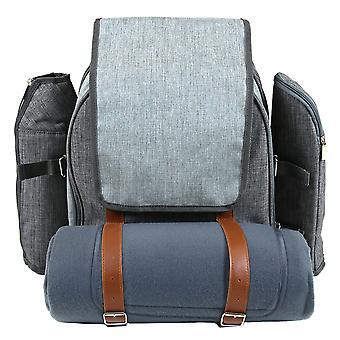 Charles Bentley grau 4 Person Picknick Tasche Rucksack einschließlich Besteck, Teller, Gläser, Decke, coole Tasche