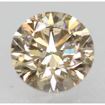 Cert 0.70 Carat Light Brown VVS2 Round Brilliant Natural Loose Diamond 5.62mm