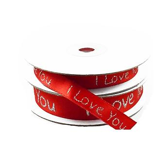 15mm Red 'I Love You' Satin Ribbon for Crafts - 10m