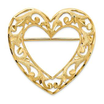 24.5mm 14k Sparkle Cut Polished and Satin Filigree Love Heart Pin Jewelry Gifts for Women