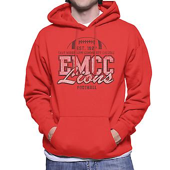 East Mississippi Community College Distressed Dark Lions Football Men's Hooded Sweatshirt