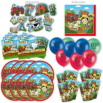 Farm Flos Farm Party Set XL 85-Piece voor 8 gasten Party Verjaardag Decoratie Party Pakket