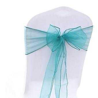 Plain Dyed, Organza Chair Sashes, Knot Design For Weddings, Banquet Decoration