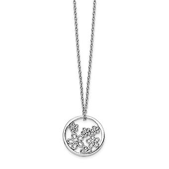 925 Sterling Silver White Ice Flower Necklace 18 Inch Jewelry Gifts for Women - .005 dwt 1.6 Grams