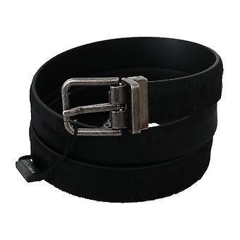 Dolce & Gabbana Black Fur Leather Metal Buckle Belt BEL60330-110