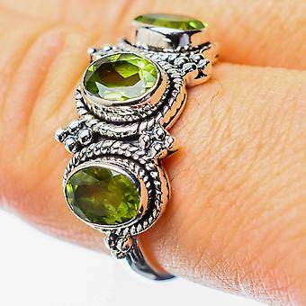 Peridot Ring Size 8.5 (925 Sterling Silver)  - Handmade Boho Vintage Jewelry RING25665