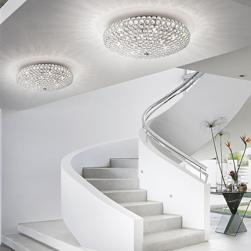 7 Light Large Ceiling Flush Light Chrome, G9