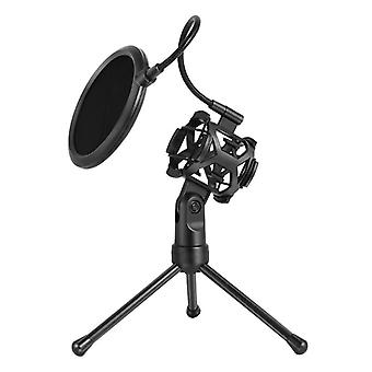 Microphone Pop Filter Holder Stick Desktop Tripod Stand Anti-spray Net Kit Ps-2