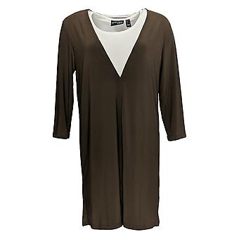 Women with Control Women's Como Jersey Overlay Tunic Brown A366017
