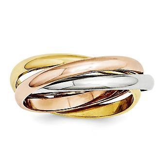 14k Tri Color Hollow Gold Polido Anel de Joias para Mulheres - Tamanho do anel: 4 a 8,5