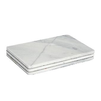 Rectangular Shaped Marble Food Serving Plates / Platters - 300x200mm - Grey - Pack of 3