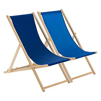 Traditional Adjustable Beach Garden Deck Chairs - Navy / Royal Blue