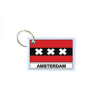 Porte cles cle clefs imprime double face drapeau amsterdam