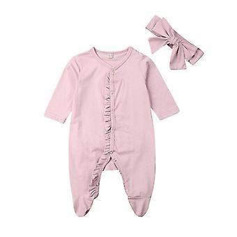 Newborn Baby Clothes Long Sleeve Ruffle Solid Cotton Romper Jumpsuit+headband