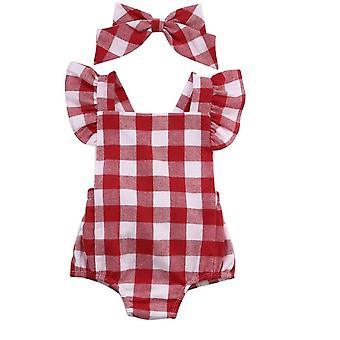 Style britannique, Red Plaid Pattern-short Sleeve Bodysuit For Baby