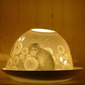 Nordic Lights Kynttilänvarjostin ja lautanen - Stencil Kitten
