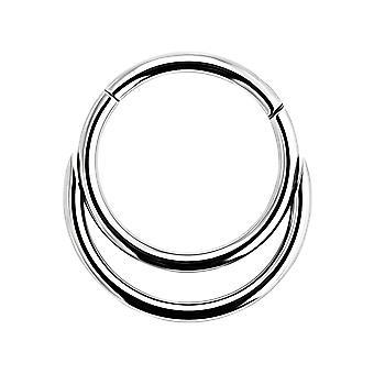16 Gauge ( 1.2MM ) - 9MM Diameter 316L Surgical Steel Twin Circle Hinged Segment Nose Ring Septum Piercing Jewellery