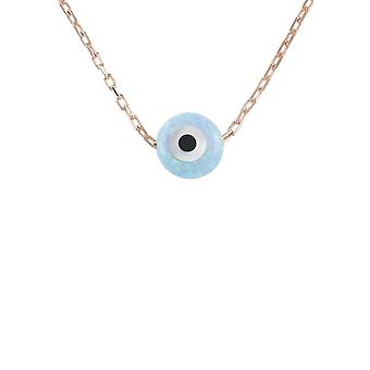 Latelita Small Mini Evil Eye Pendant Necklace Opalite Blue 925 Silver Rose Gold