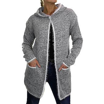 Women's Casual Hooded Fluffy Coatigan Jacket Ladies Warm Button Neck Long Sleeve Stretchy Cardigan Tweed Knit 6-18