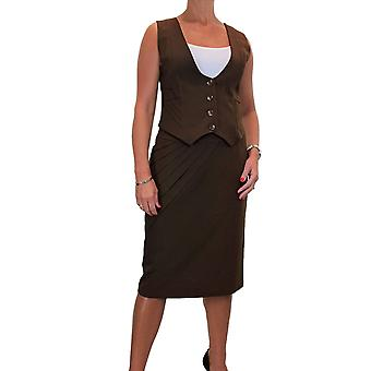 Women's Smart Detail Button Down 2 Piece Vest Skirt Suit Fully Lined Evening Business Office Work 10-18