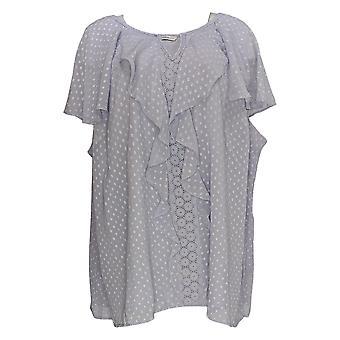 Isaac Mizrahi Live! Women's Plus Top Clip Dot Blouse Purple A306834