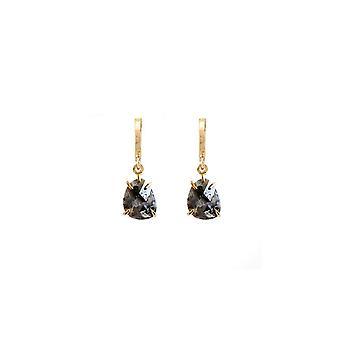 Black Garnet Drop Huggie Earrings
