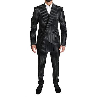 Black white striped 3 piece sicilia suit