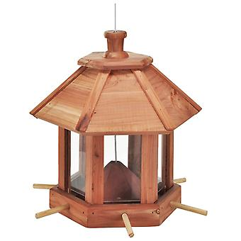 HI Bird Feeding House Hanging Brown