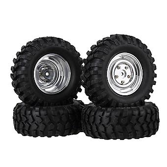 4PCS Silver Alloy Wheel Rim with Screws Rubber Tyre for RC 1:10 Rock Crawler